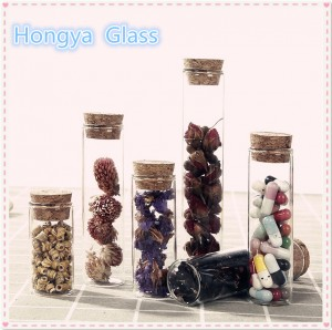 Flat bottom borosilicate glass test tube with cork lid for flower tea packaging