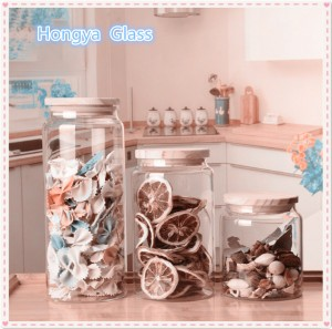 Glass jar Wooden Lid Resistant Borosilicate Seal Pot Bottles Storage Jar Container Dried Fruit Snack Kitchen Canned Box