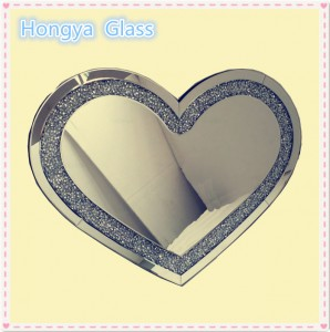 Heart Shaped Wall Mirror Silver Diamond Crush Mirror