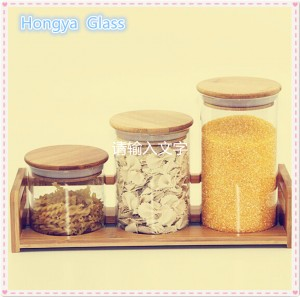 High borosilicate glass storage seal pot with wooden lid
