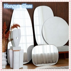 decorative wall oval frameless silver mirror for bathroom furniture