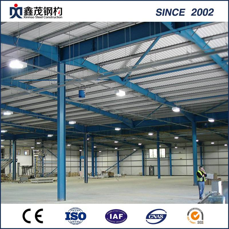 Large Span Prefabricated Steel Structure Industrial Buildings with Fire Resistance for Warehouse