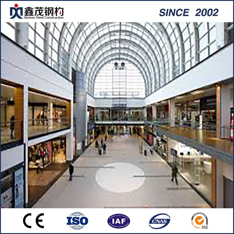 Prefab Structure Steel Shopping Center bi Span Large bi Certification ISO