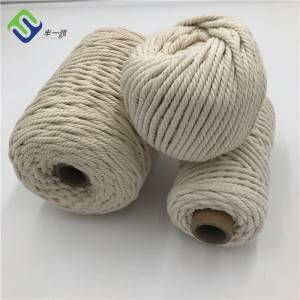 High Quality 3mm 4mm 5mm 3 Strand Twisted Natural Cotton Rope