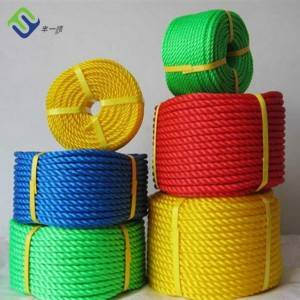 Colored 6mm 3strand 4 strand twist High Density Polyethylene PE packing rope