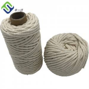 100% cotton 3mm 200m 3 strand twisted rope with natural color