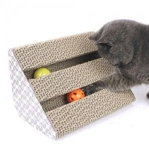 Factory Wholesales Cardboard Cat Scratcher with Cat Toy