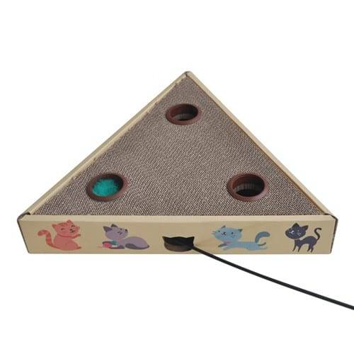 Corrugated Galvanized Steel Sheet Turbo Scratcher Cat Toy - Whack a Mole Cat Toy Triangle Cardboard Cat Scratcher01 – Loyi