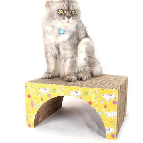 Corrugated Galvanized Sheet Cat Scratcher Pad - DIY Cat Toys Bridge Shaped Cat Corrugate01 – Loyi