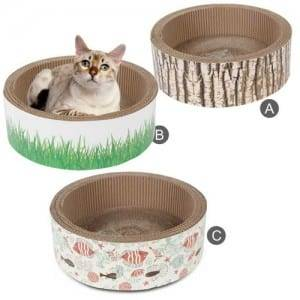 Matt Pre-Painted Steel Sheet Cat Scratcher With Bar - Cat Scratcher Shaped of Round Cardboard Toys – Loyi