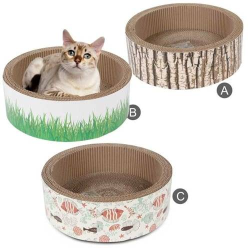 Color Steel Short Plush Cat Trees - Cat Scratcher Shaped of Round Cardboard Toys – Loyi