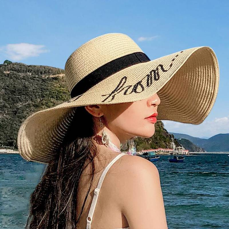 Wide brim women wholesale custom summer beach sun floppy paper straw hat