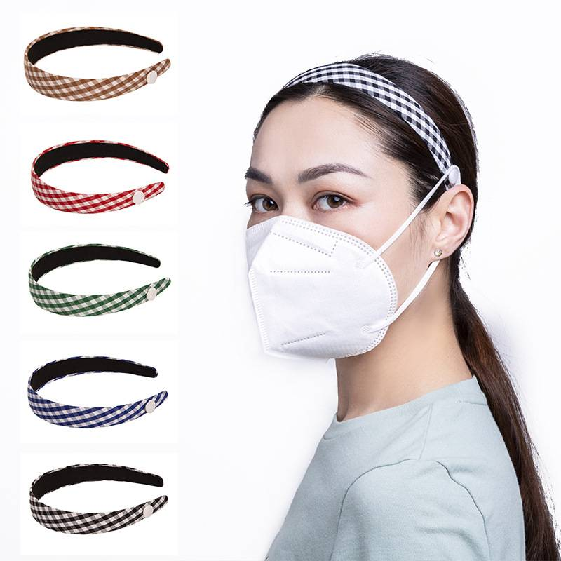 Hot style fixed mask button hair band classic check headband anti-slip thin border button hair accessories