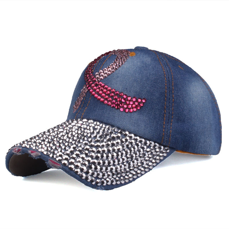 Diamond Ribbon Denim Cap