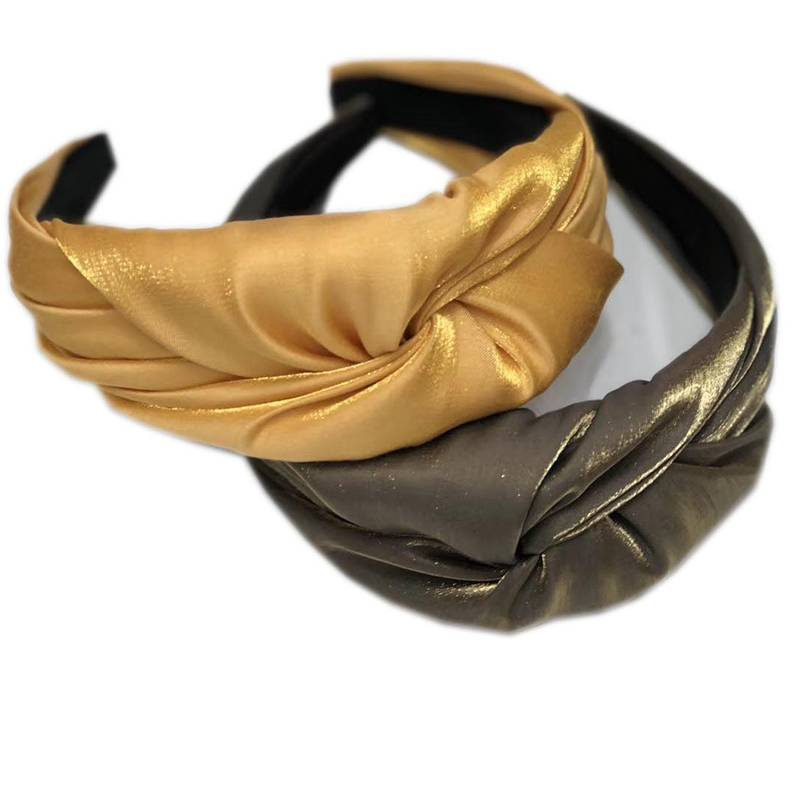 Flashing Shinning Plain Coloured Fashion Fabric Hairbands For Women Ladies Wholesale Latest Hairband Design Europe