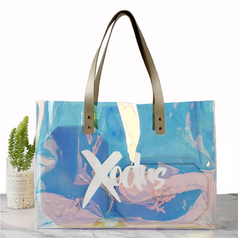 Hot sell Female Holographic Transparent Handbags Beach bag Laser Clear PVC Tote Shopping Bag