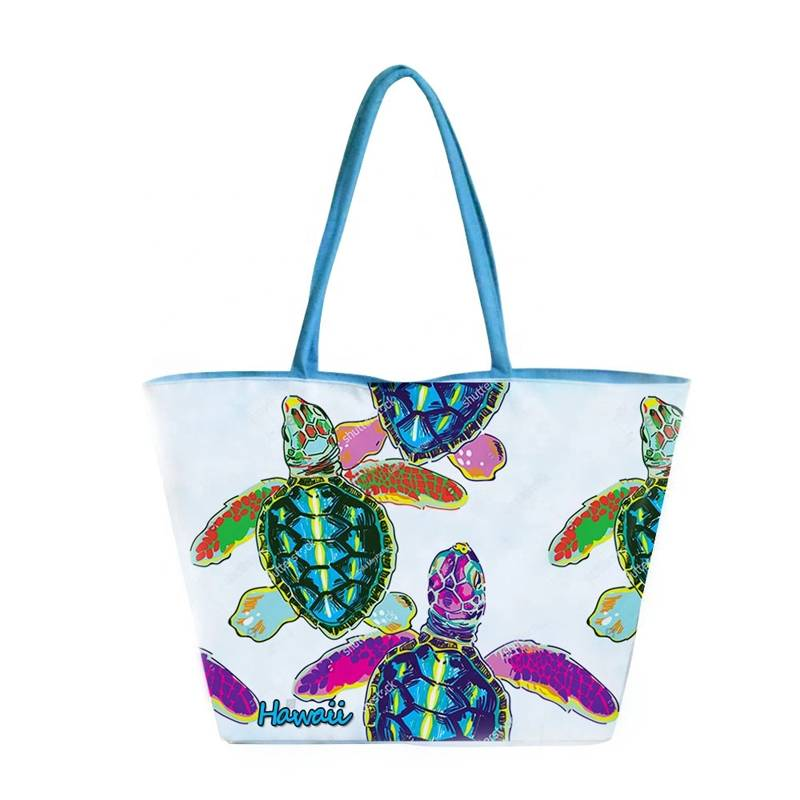 New arrivals tote bag large capacity canvas beach bags customized tropical view printing travel bag turtle rope handbags