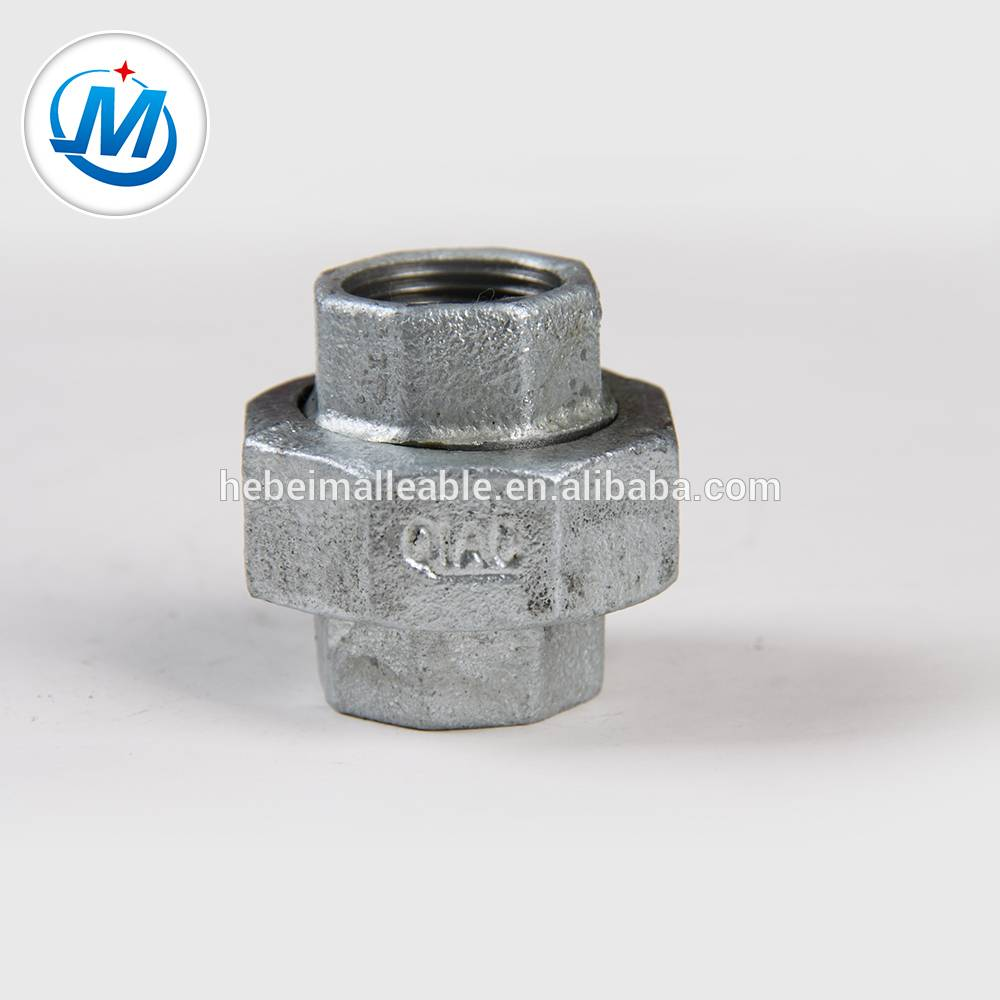 NPT Standard galvanized Malleable iron pipe fitting conical Joint union