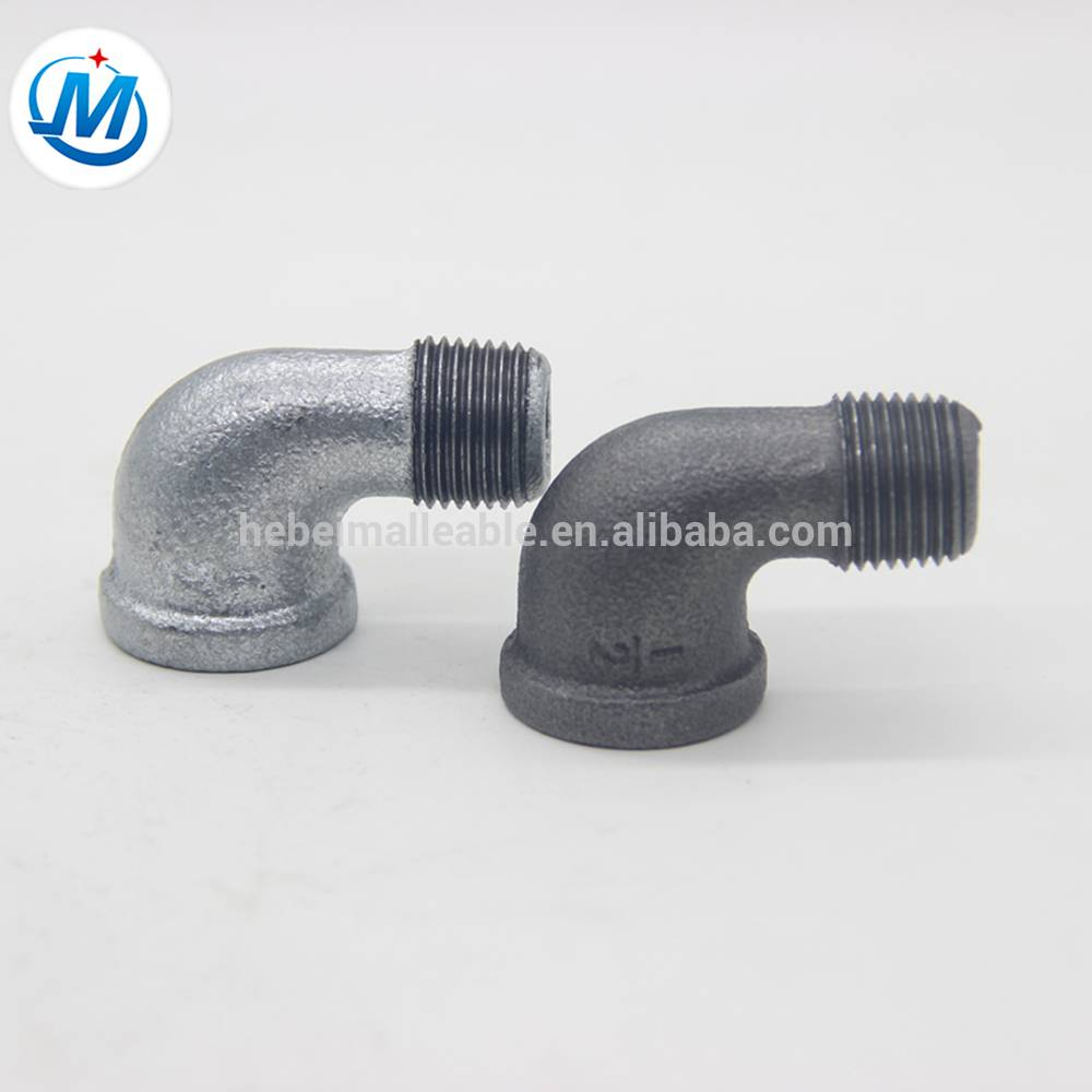 hebei plumbing pipe fitting male/female 90 deg elbow with malleable iron