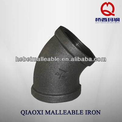 High pressure gi malleable iron pipe fittings with elbow 45degree