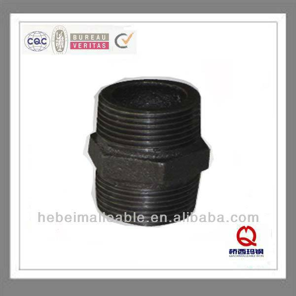 "2 ""DIN itim na malambot cast iron pipe agpang hexagon nipple"
