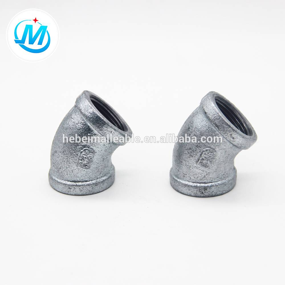 Beaded Type malleable iron pipe fitting elbow 45 Degree