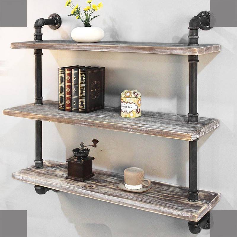 Rustic Pipe Shelving Unit, Metal Decorative Accent Wall Book Shelf for Home or Office Organizer