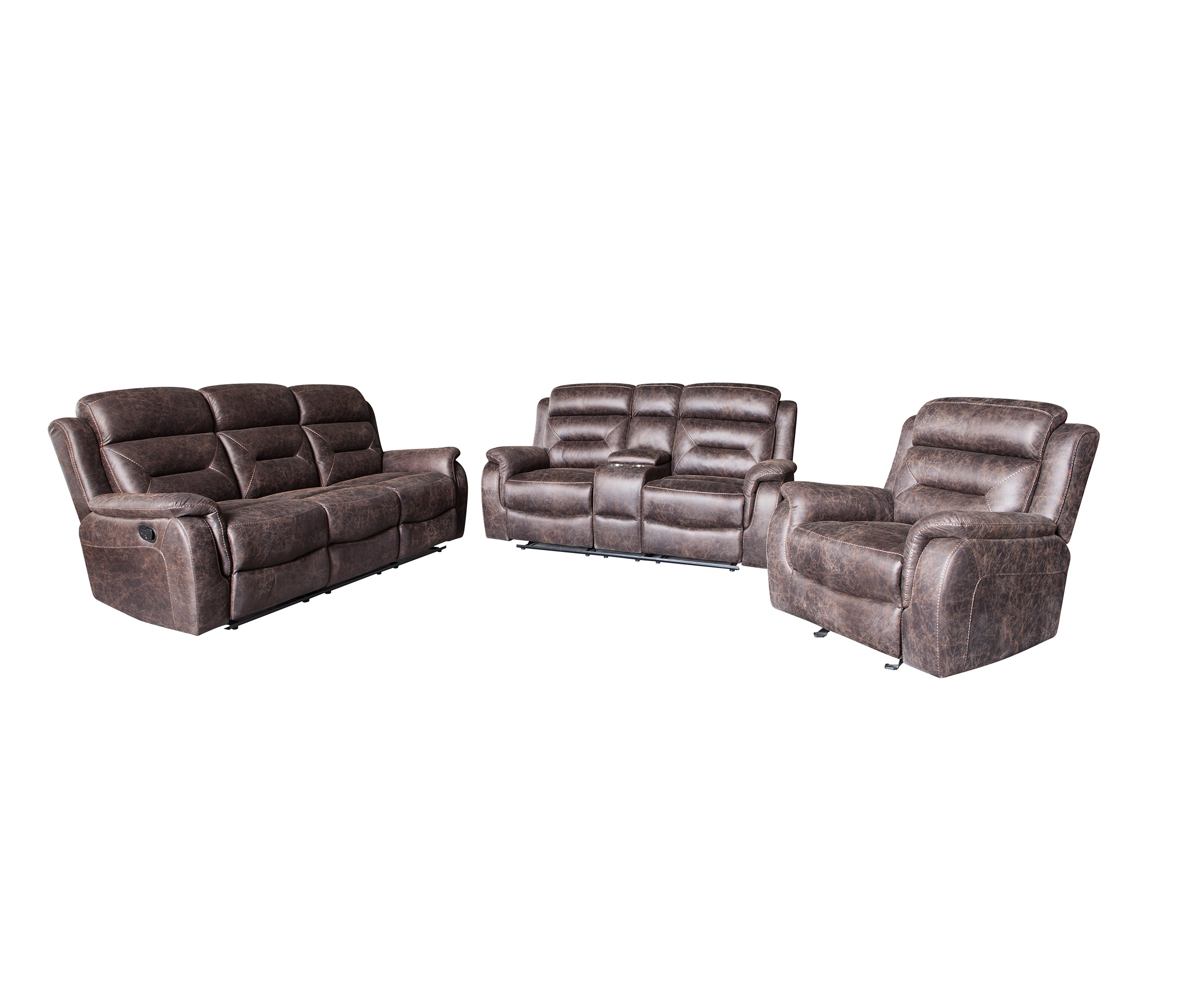 Modern living room furniture 3+2+1 leather recliner sofa
