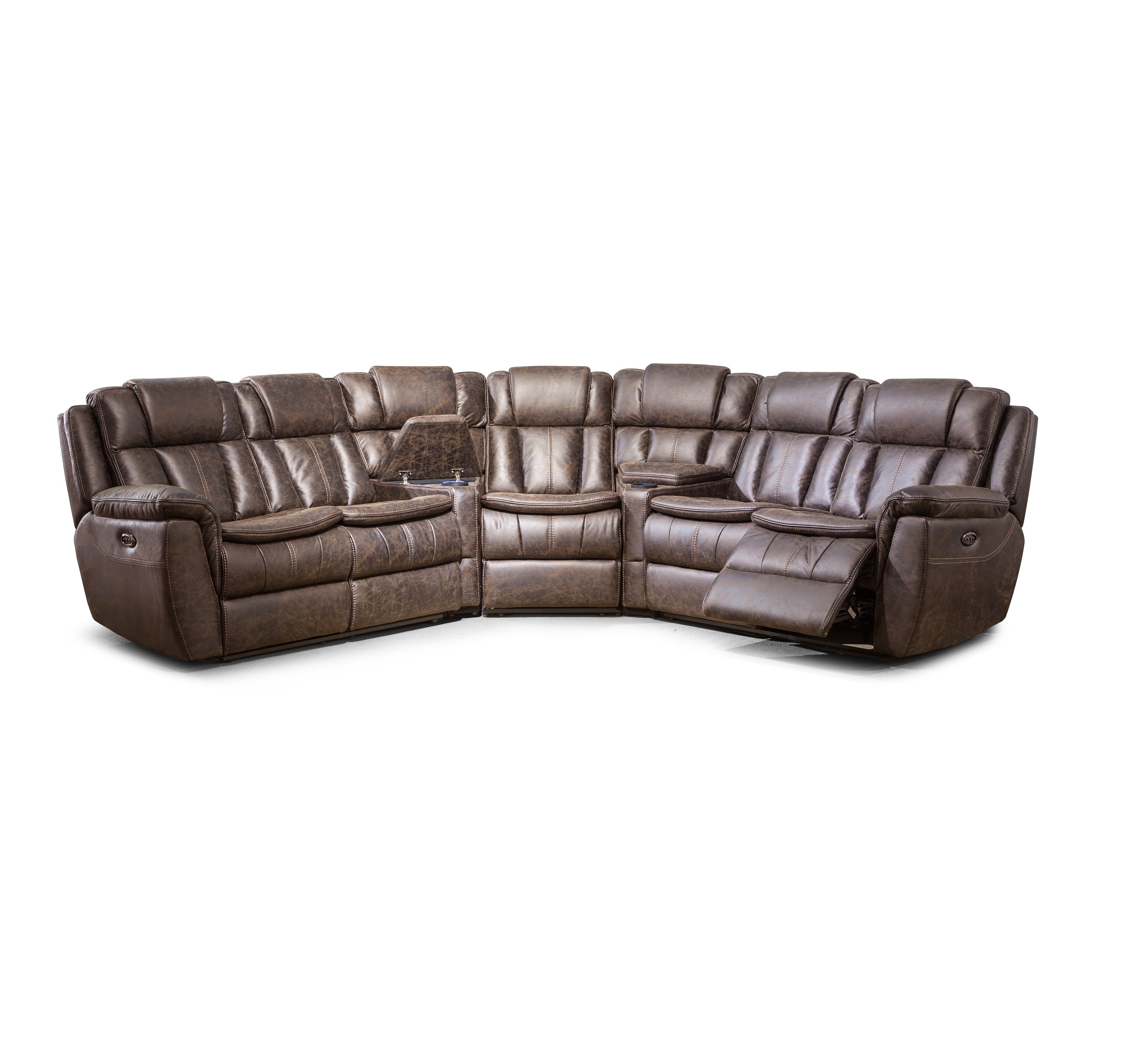 European style U shaped leather recliner sectional sofa