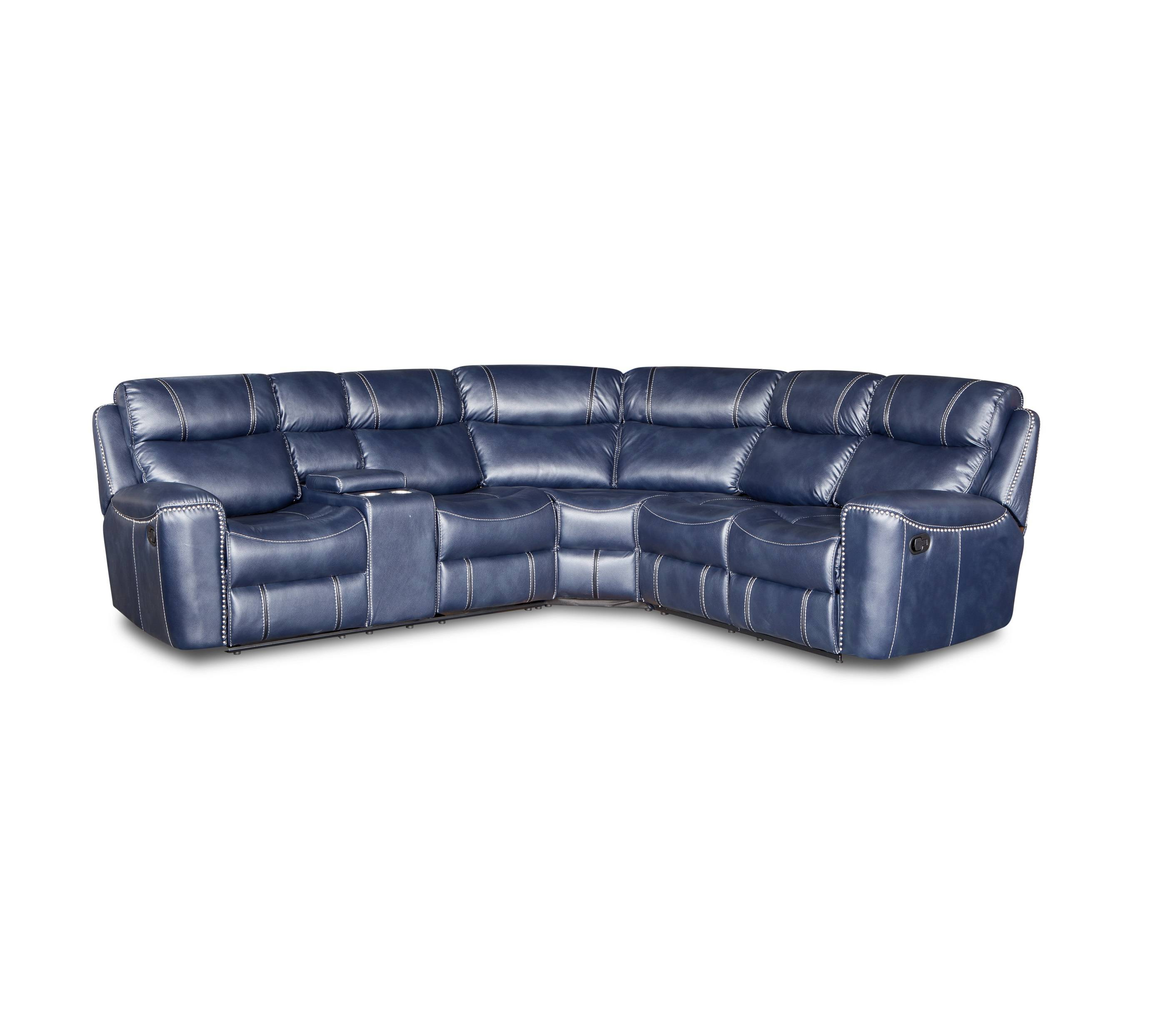 Luxury recliner with cup holder leather u shaped sectional sofa