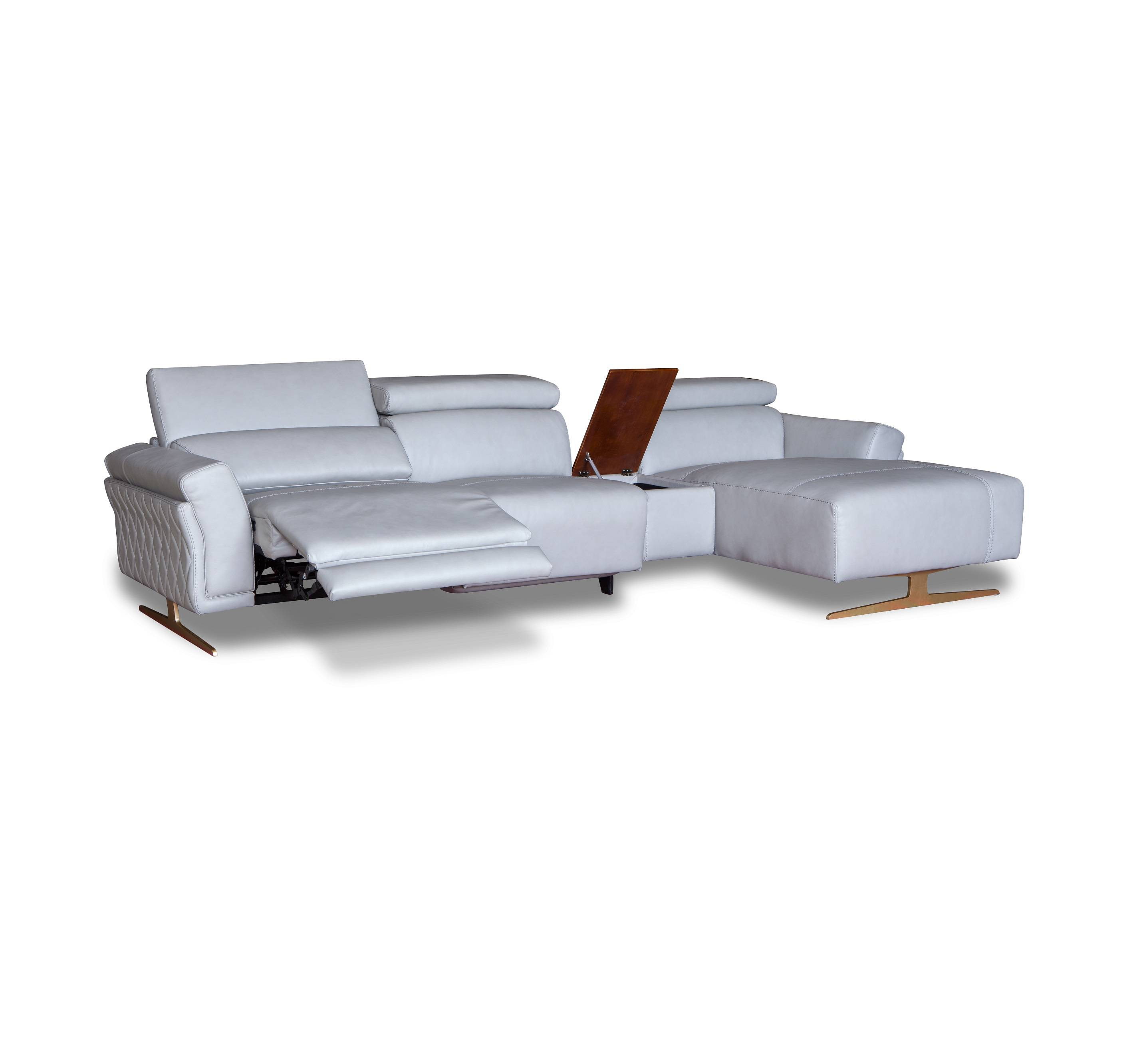 European simple style white leather corner sectional lounge recliner