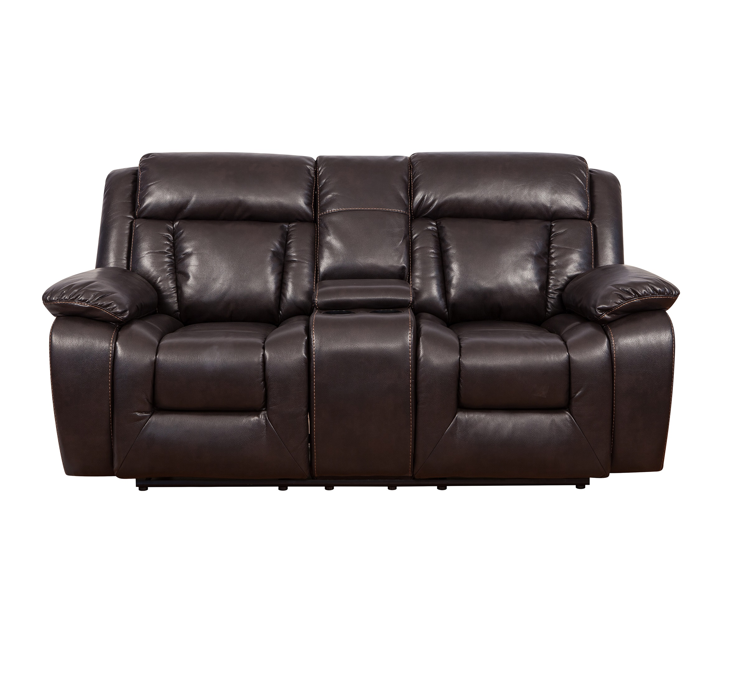 American style 2 seater modern leather loveseat with cup holder Featured Image