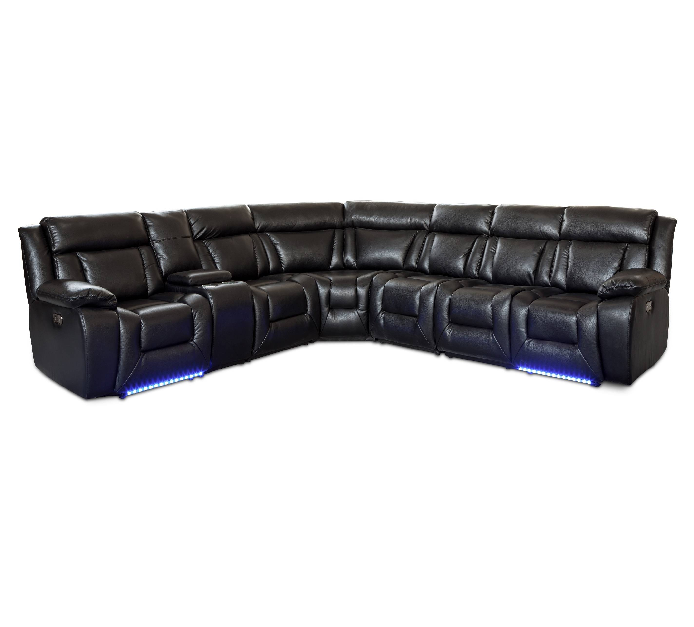 Modern genuine leather with console sectional corner sofa set