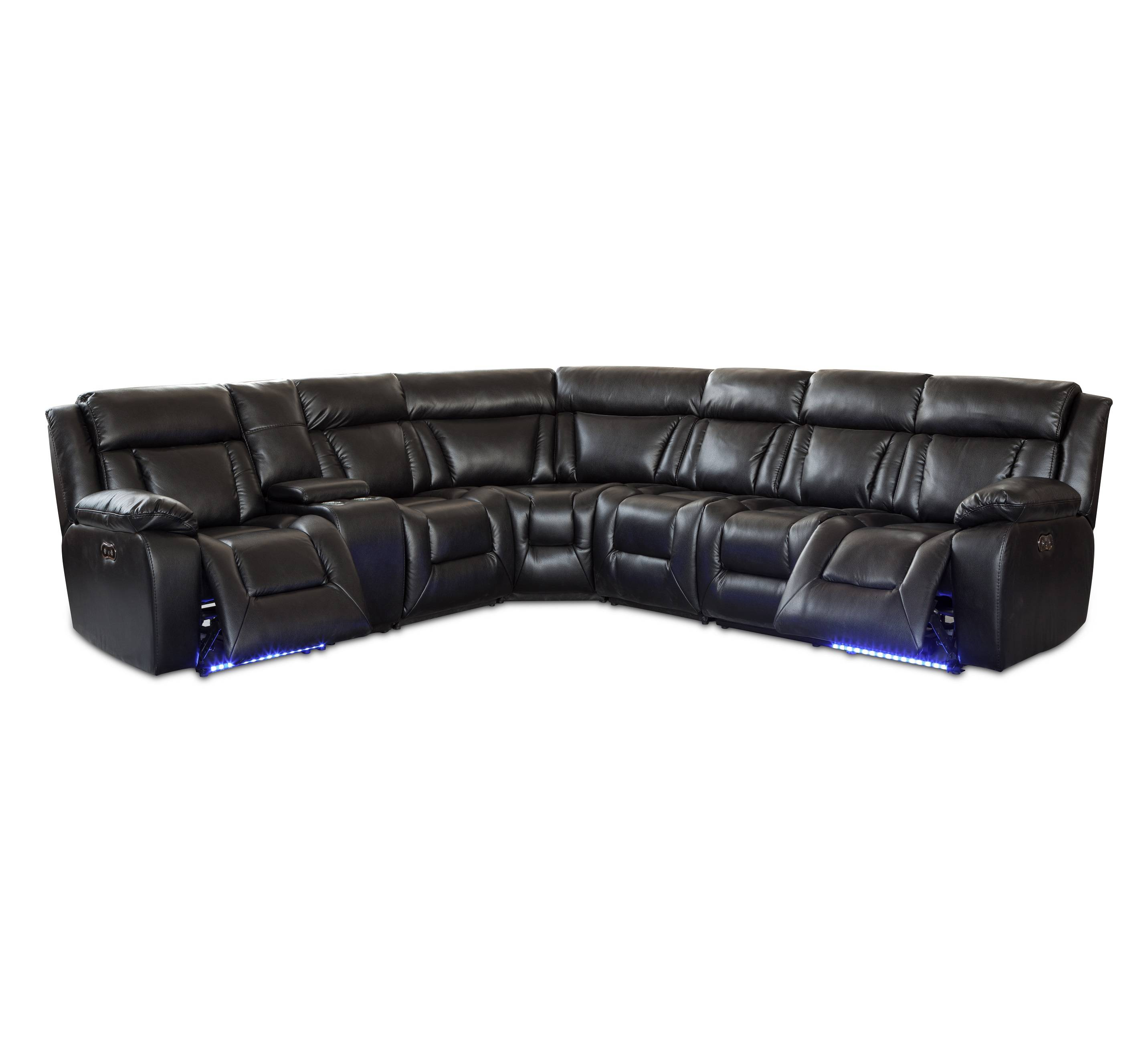 Modern leather recliner massage sectional sofa set with cup holder