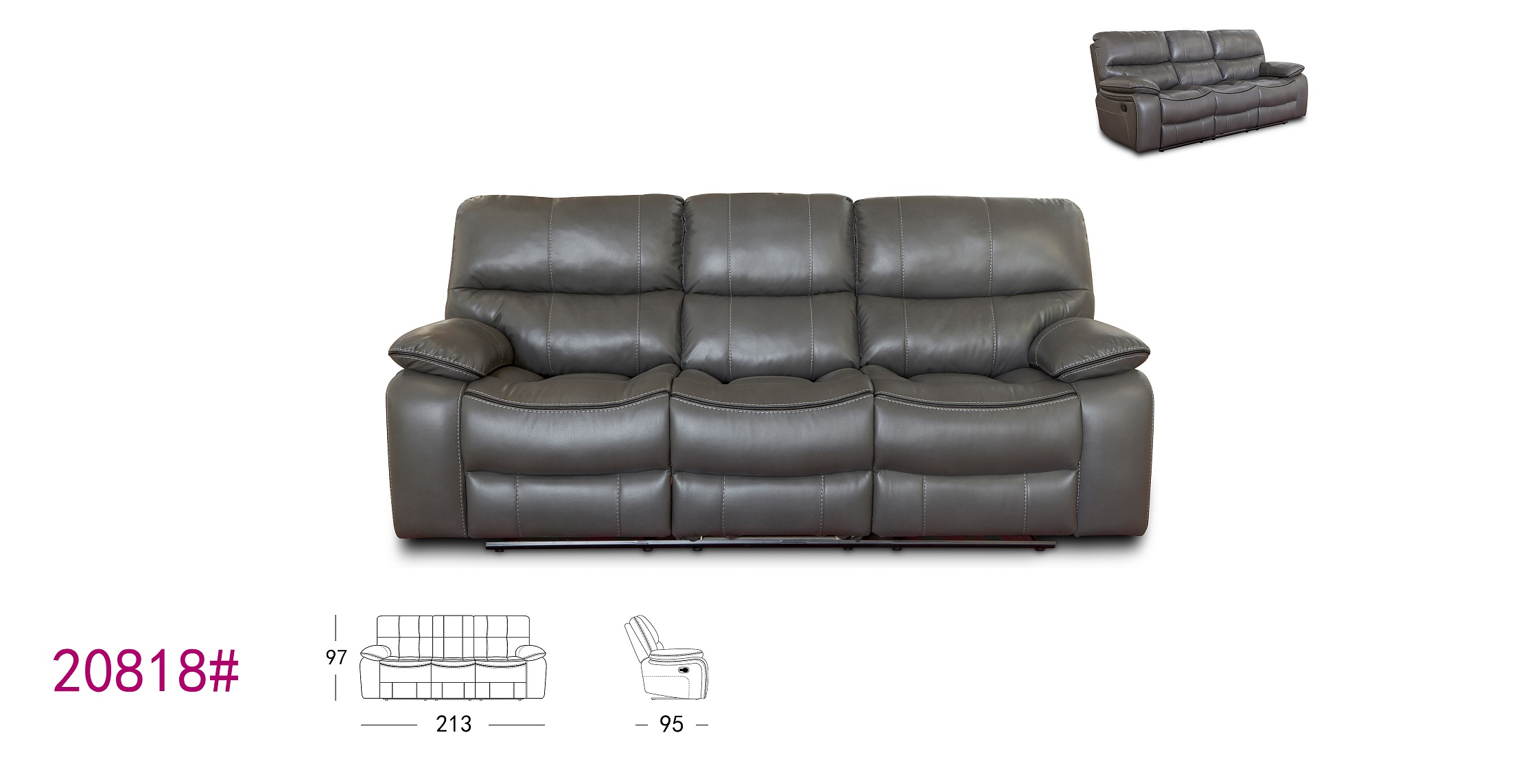 Functional high quality pu leather fancy 3 seat recliner sofa