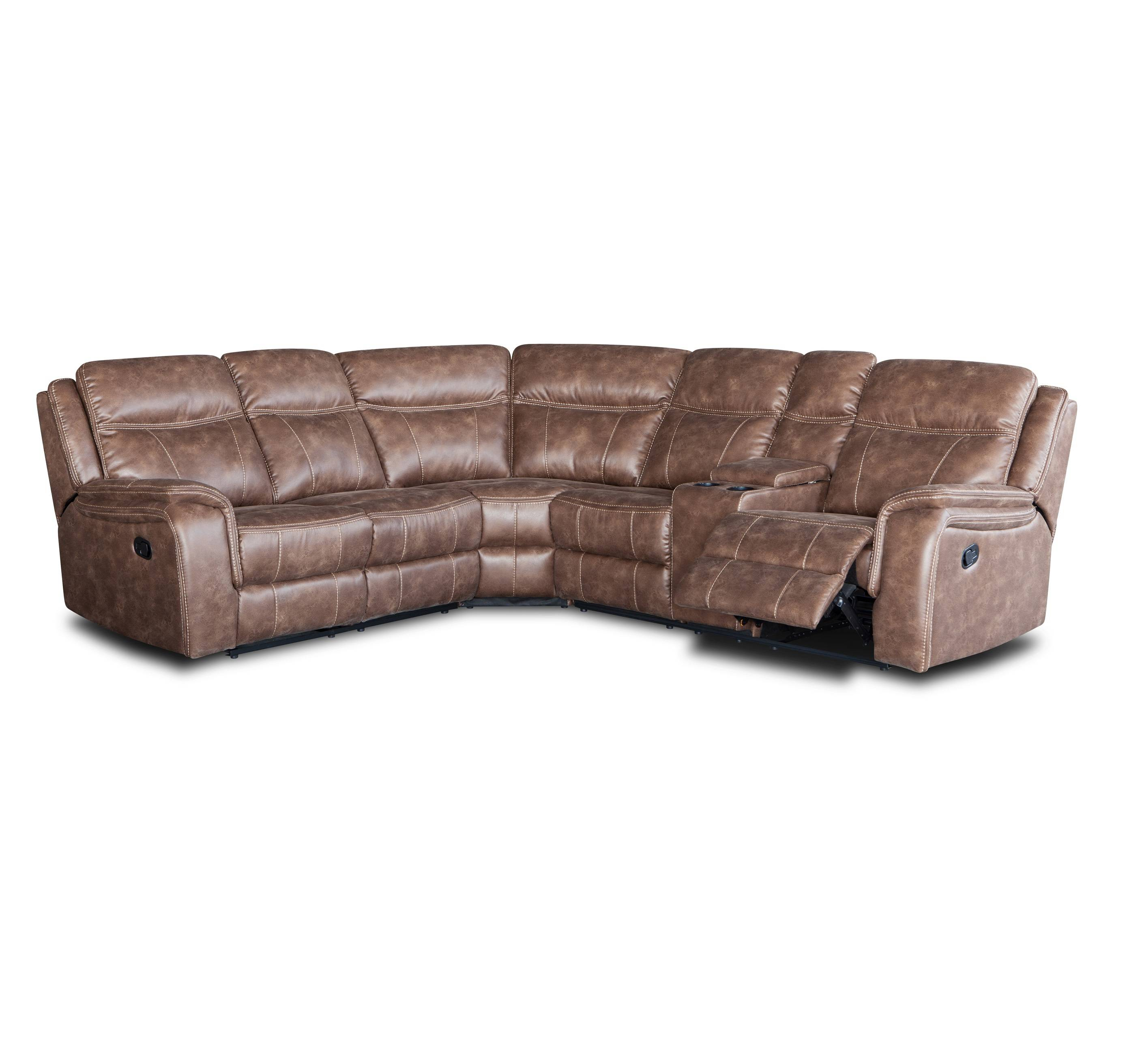 Functional 5 seat u shape brown leather recliner sofa with cup holder