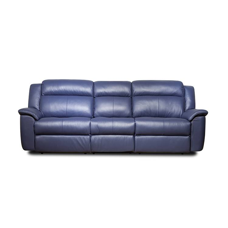 Modern leather şîn 3 trîbûna recliner sofa elektrîkê bi chaise