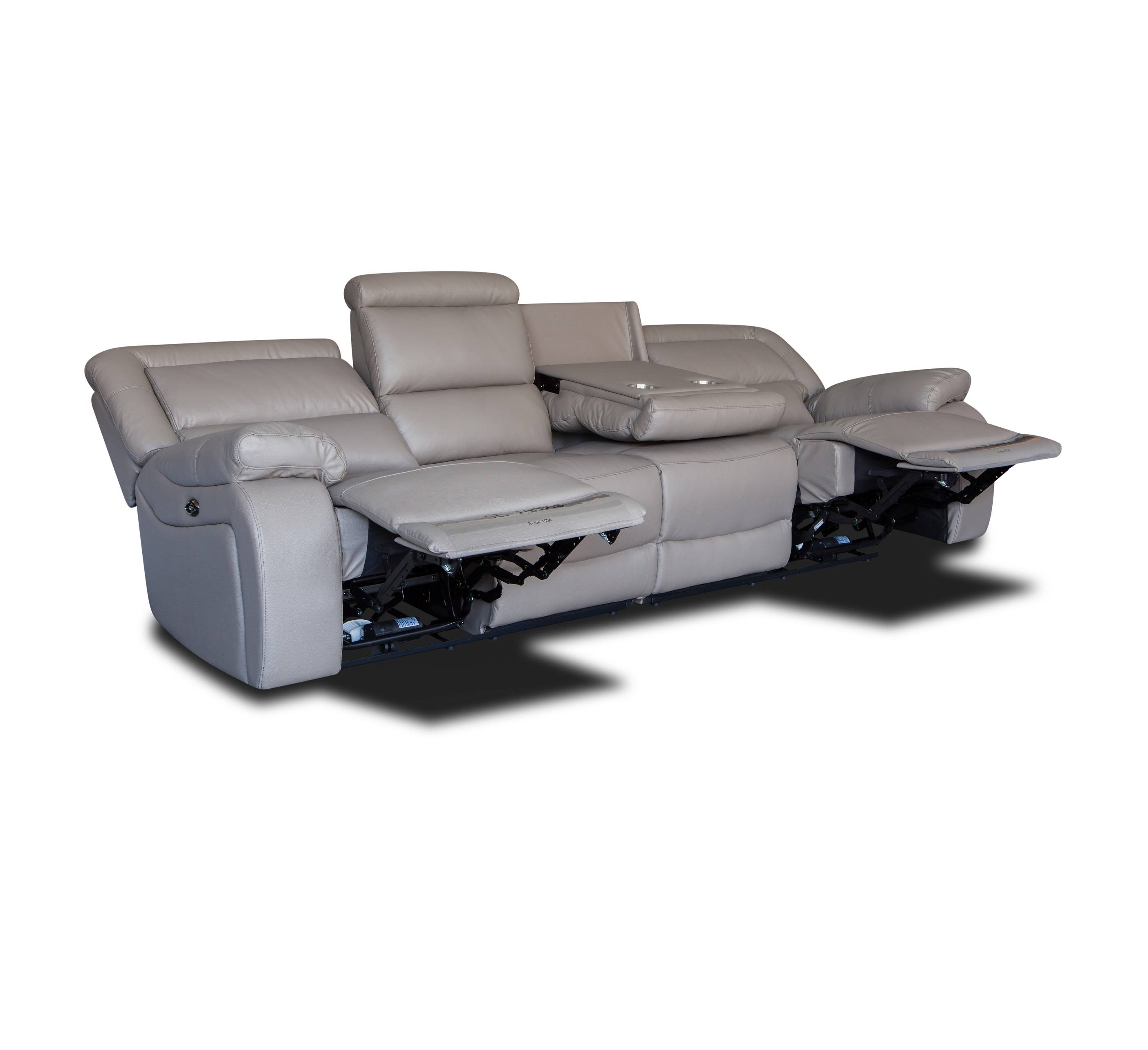 European style top grain leather 4 seater recliner sofa set with cup holder