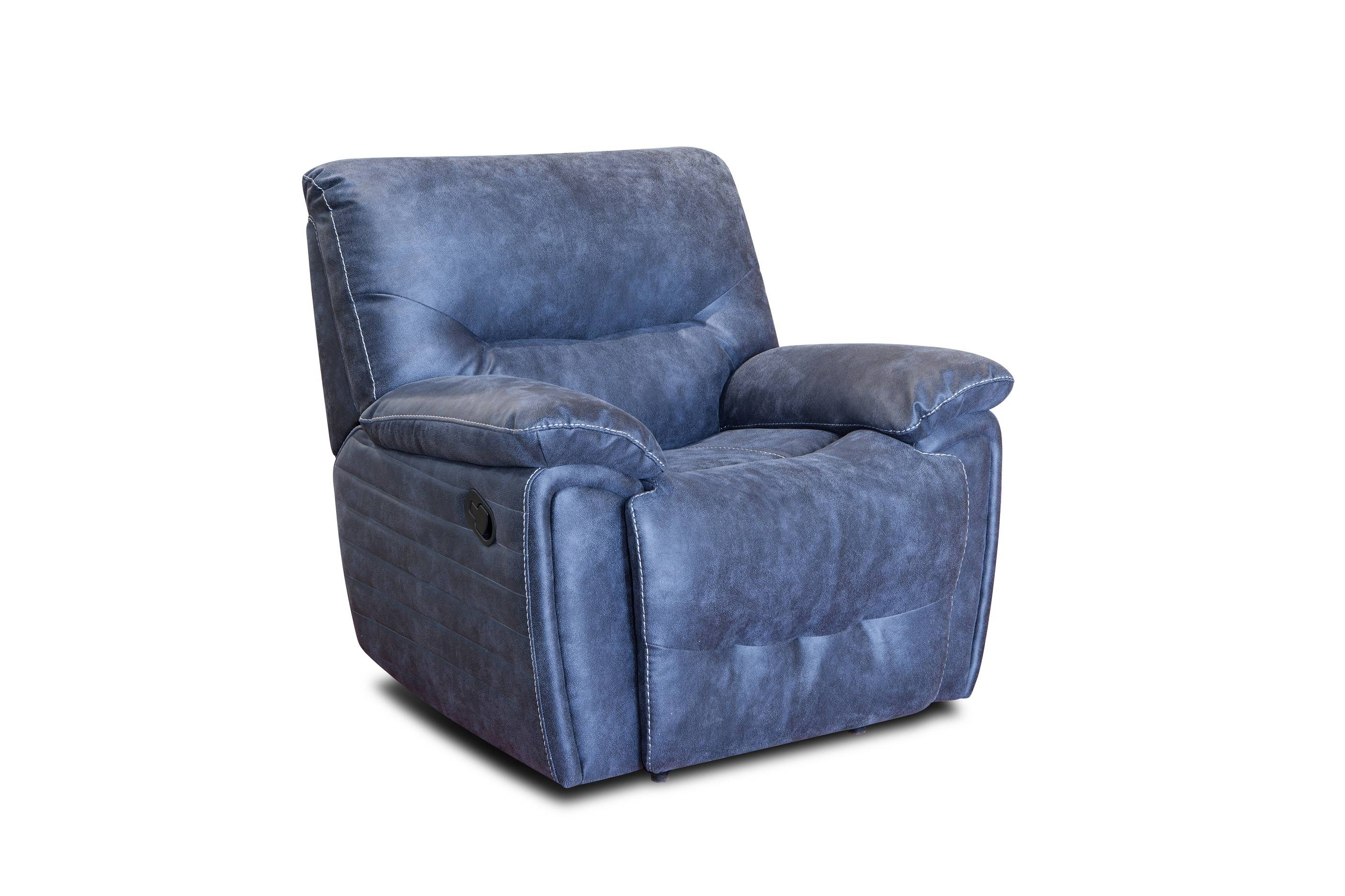Functional 1+2+3 blue leather recliner living room sofa set