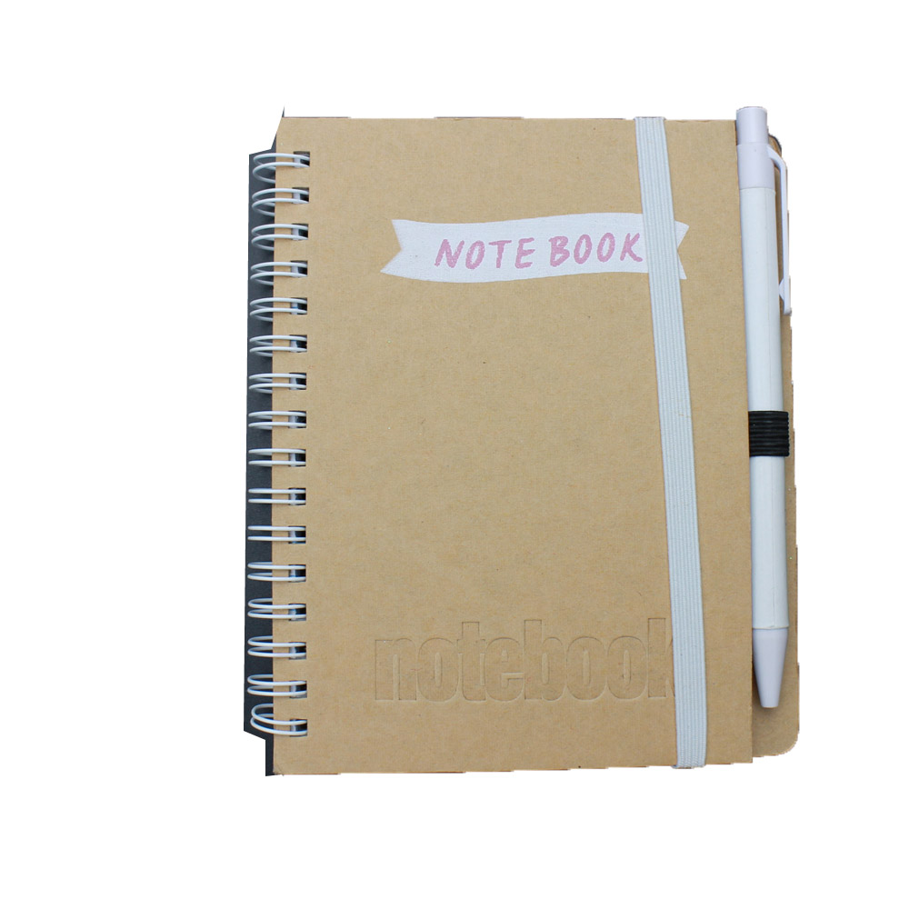 Kraft paper cover cheap school exercise notebook with ball pen