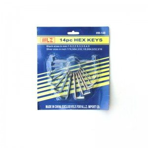 14-PCS Hex Key Sets packaged by spring ring