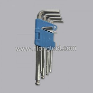 9-PCS Ball-point Hex Key Sets packaged by folded plastic frame