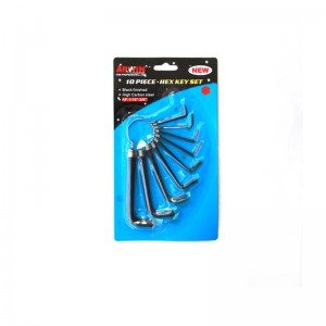 10-PCS Hex Key Sets packaged by spring ring