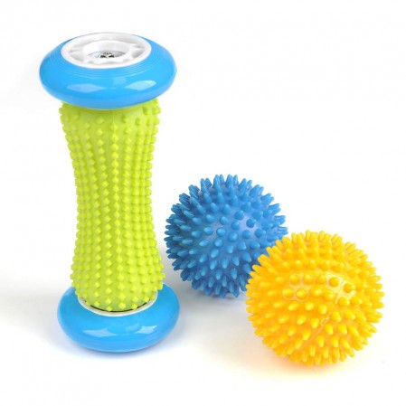 3 Pack Foot Massage Roller Massage Spiky Balls and Muscle Roller Stick