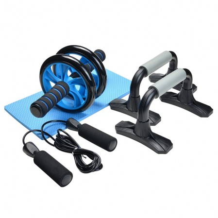 AB Wheel Roller Kit med Push Up Bar, sjippetov og Knee Pad, Perfect Abdominal Core Carver Fitness Workout