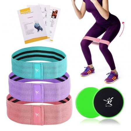 Hip Exercise Bands Set and Core Sliders Core
