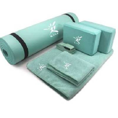 Fitness Yoga Set 6-Piece TPE Mat, 2 Blocks, 1 Mat Towel, 1 Hand Towel and a Strap