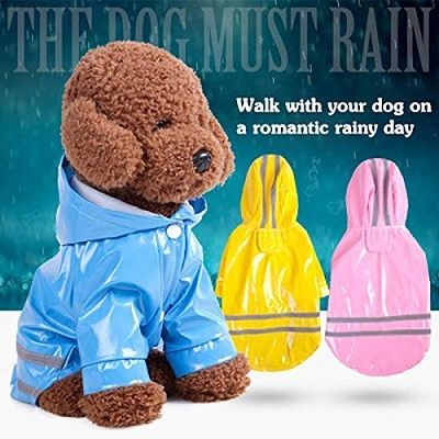 Outdoor Puppy Pet Rain Coat with Hood Waterproof Jackets PU Reflective Raincoat for Dogs Cats Apparel Clothes