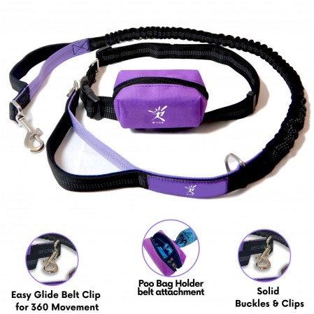 Hands Free Dog Running Leash with Waist Pocket