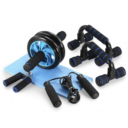 OEM pasadyang AB Wheel Roller Kit na may Push UP Bar, Hand Griper, Jump Rope at tuhod Pad para sa Home Exercise